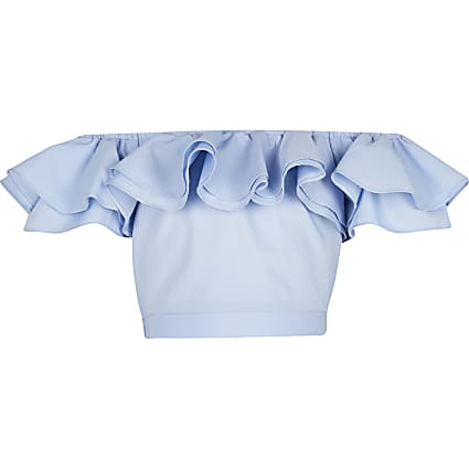 Girls blue frill crop top