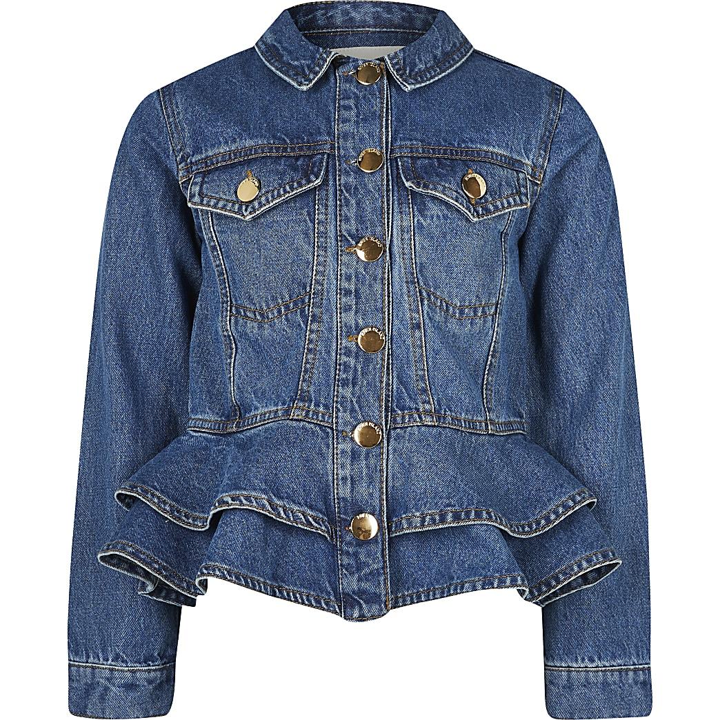 Girls blue frill denim jacket