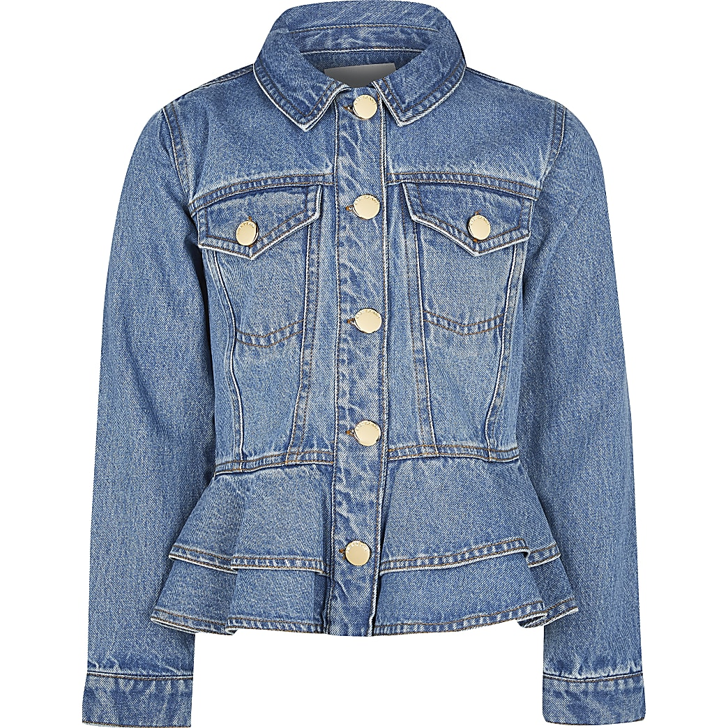Girls blue frill denim jacket