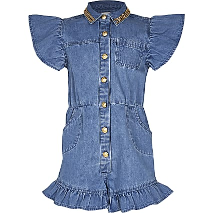 Girls blue frill denim playsuit