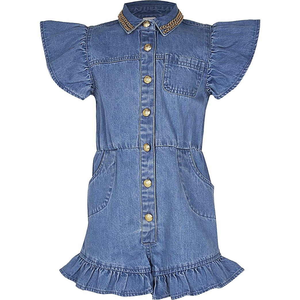 Girls blue frill denim playsuit