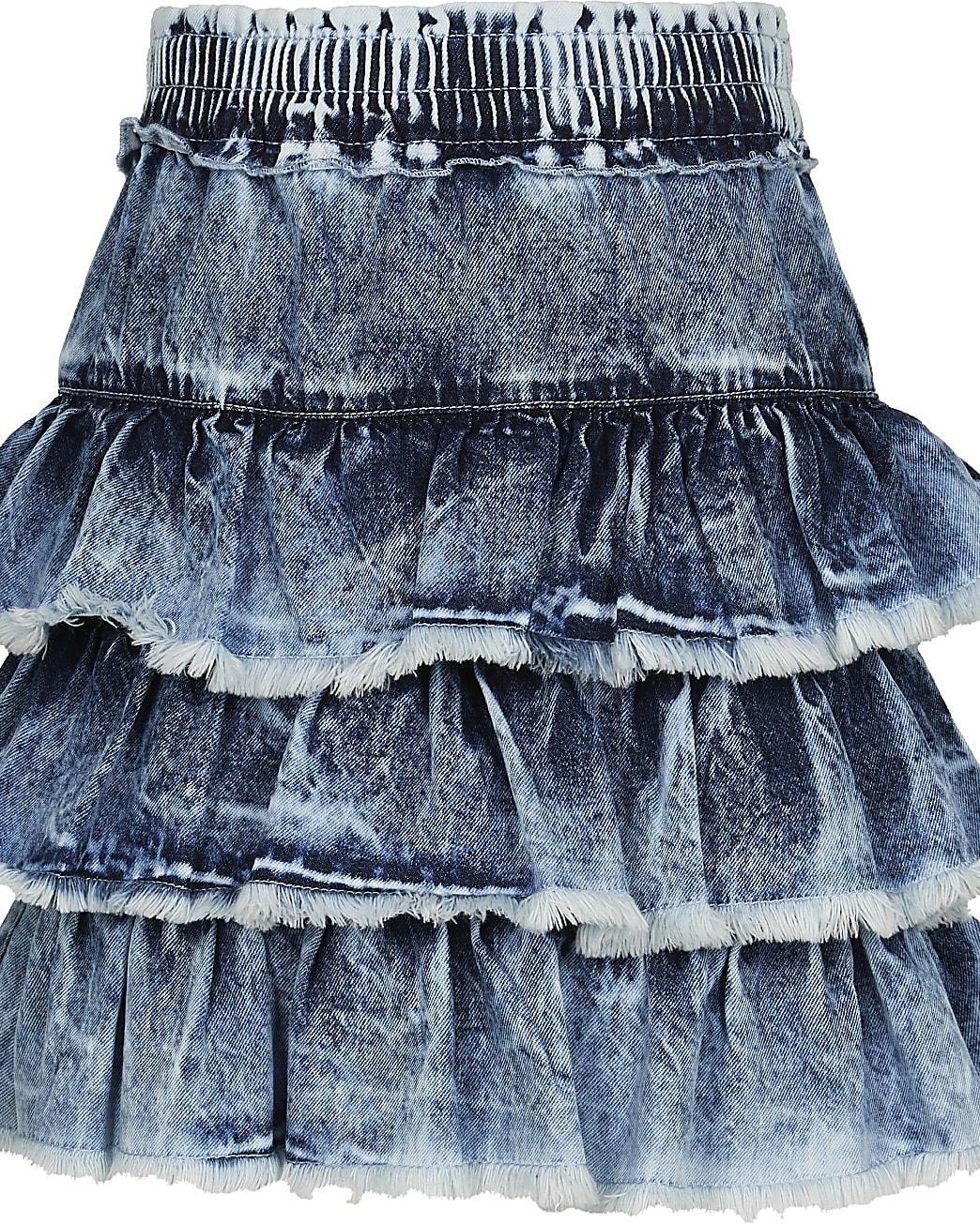 Girls blue frill hem denim skirt