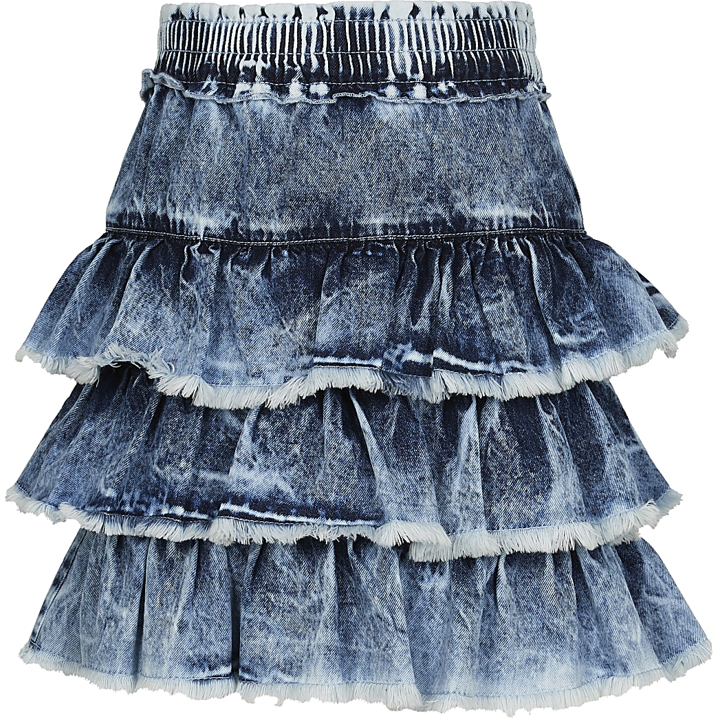 Girls blue frill hem denim skirt