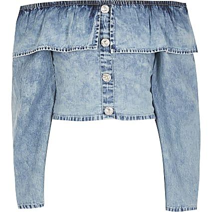 Girls blue frill long sleeve denim crop top