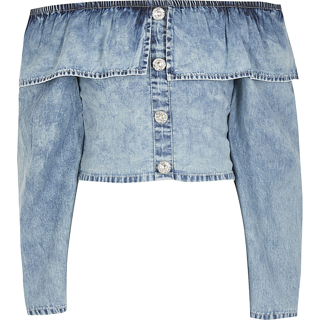 Girls blue frill long sleeve denim crop top