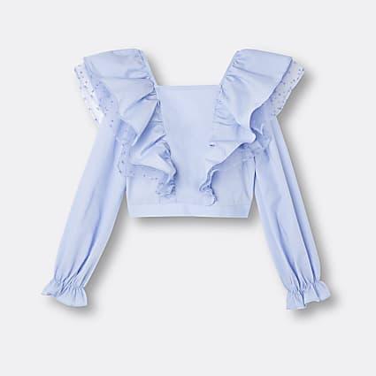 Girls blue frill organza blouse top