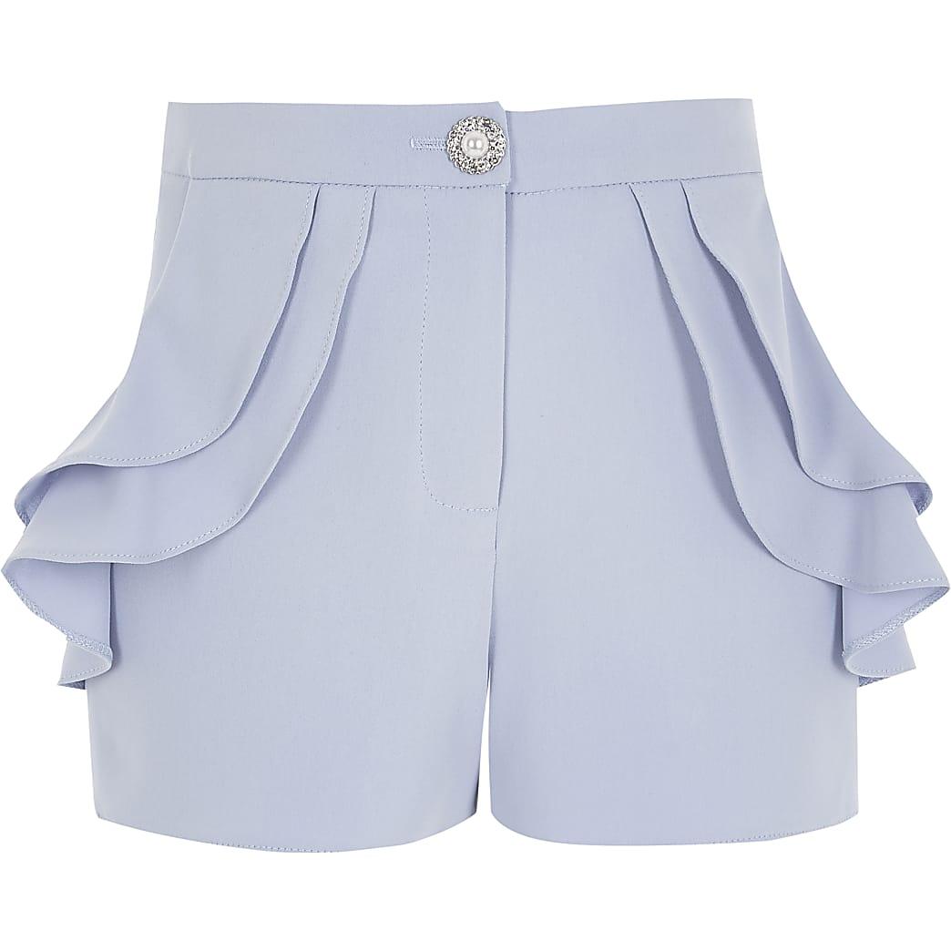Girls blue frill pocket shorts