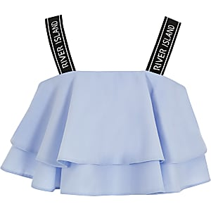 Girls blue frill RI cropped top