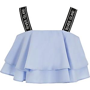 Blauwe cropped top met ruches en RI-bandjes voor meisjes