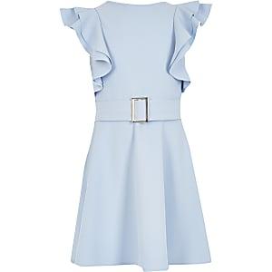 Robe avec manches en volants bleue pour fille