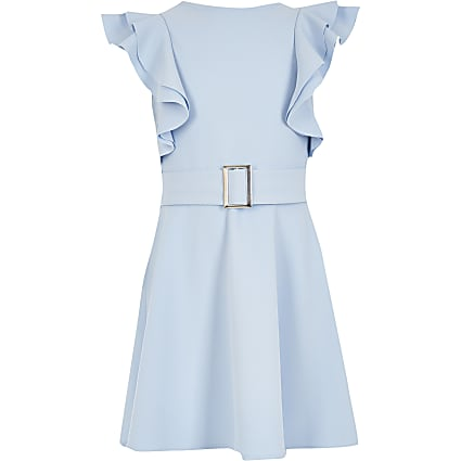 Girls blue frill Sleeve Dress
