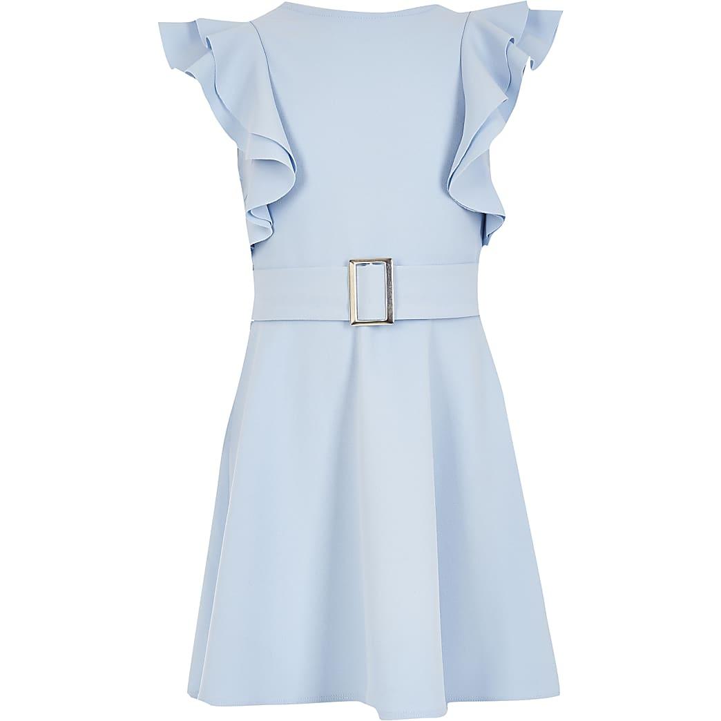 Girls blue frill Sleeve Dress