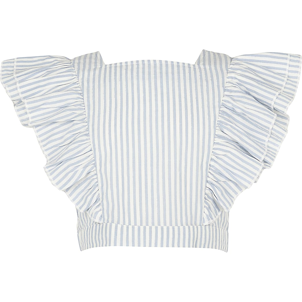 Girls blue frill sleeve stripe crop top