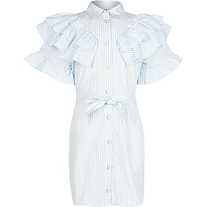 Girls blue frill stripe shirt dress