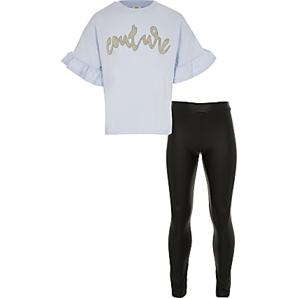 Girls blue frill t-shirt wetlook leggings set