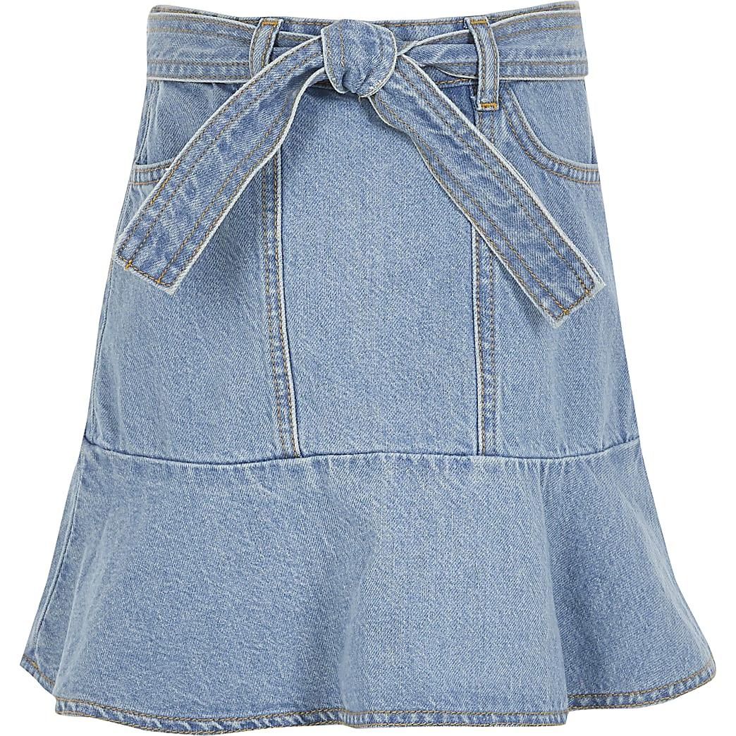 Girls blue frill tie belted denim skirt