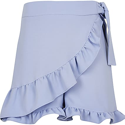 Girls blue frill wrap shorts