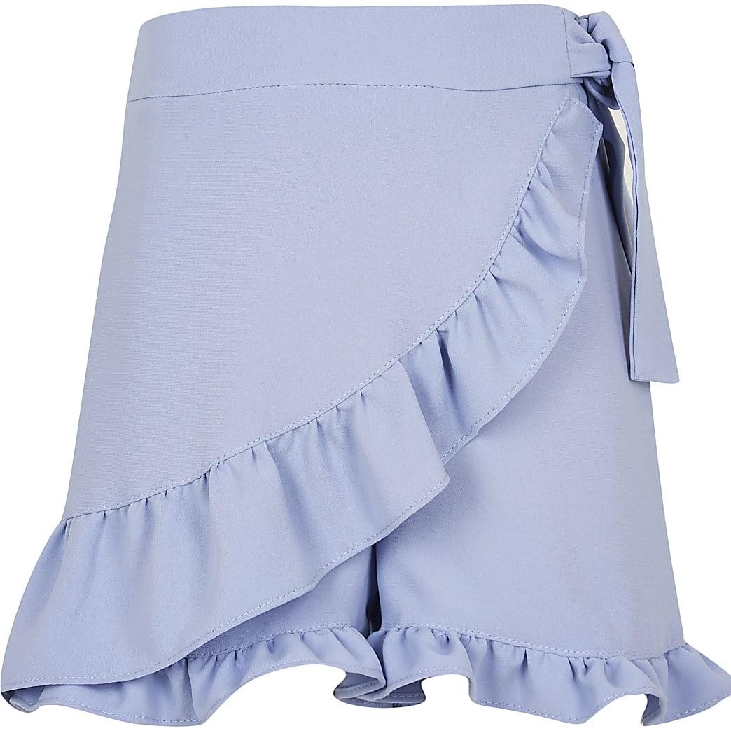 Girls blue frill wrap shorts
