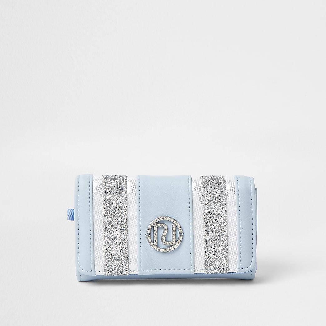Girls blue glitter chevron large purse