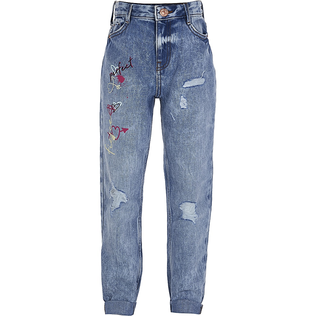 Girls blue graffiti print high rise mom jeans