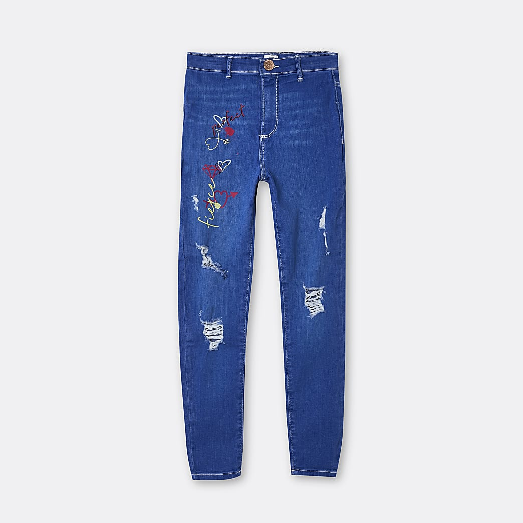 Girls blue graffiti print slim jeans