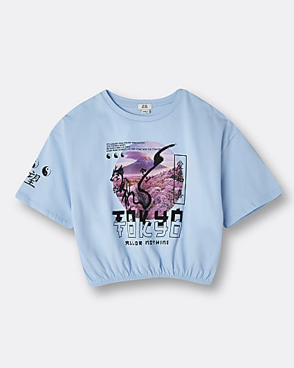 Girls blue graphic print cinched t-shirt