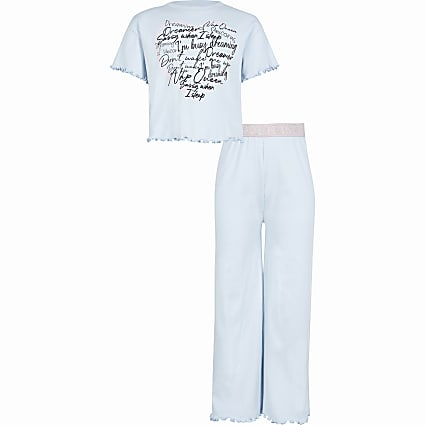 Girls blue heart flared pyjama set