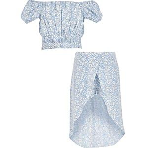 Tenue avec crop top imprimé cœur bleu pour fille