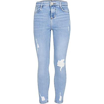 Girls blue high rise skinny jean