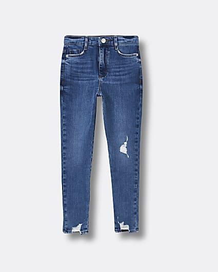 Girls blue high rise skinny jeans