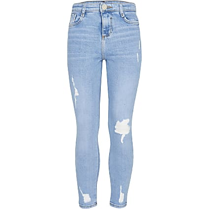 Girls blue high rise skinny jeans