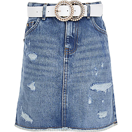 Girls blue high waist denim skirt with belt