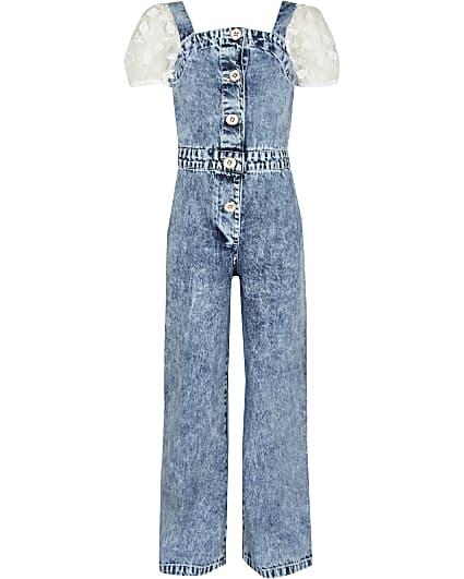 Girls blue hybrid organza denim jumpsuit