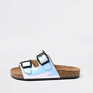 Girls blue iridescent cork buckle slider
