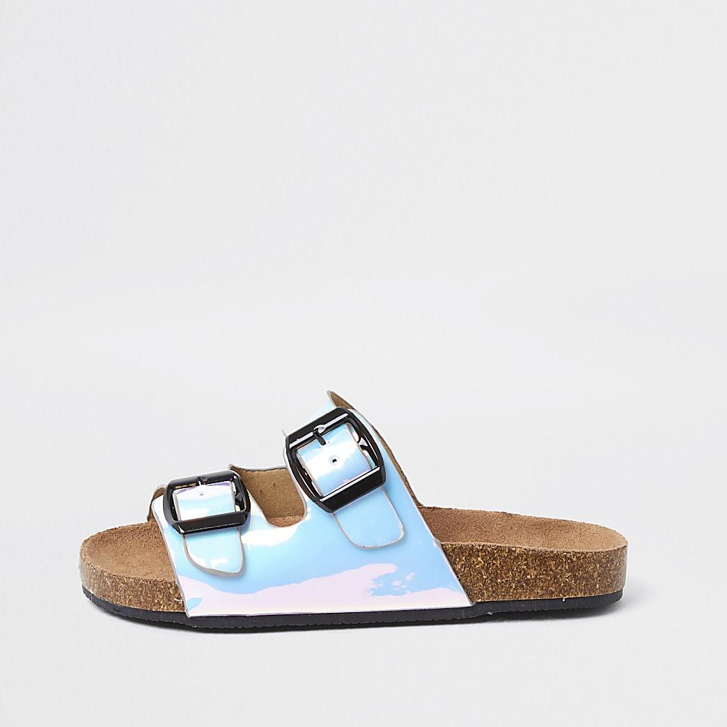 Girls blue iridescent cork buckle slider