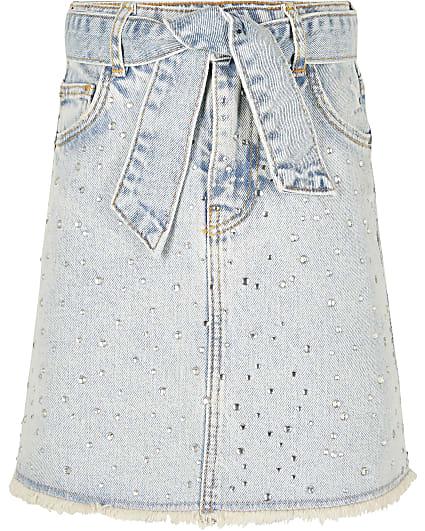 Girls blue jewel embellished denim skirt