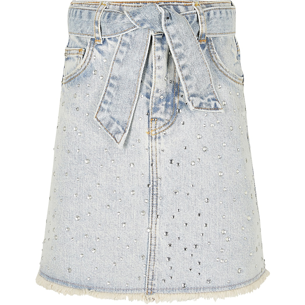Girls blue jewel embellished denim skirt