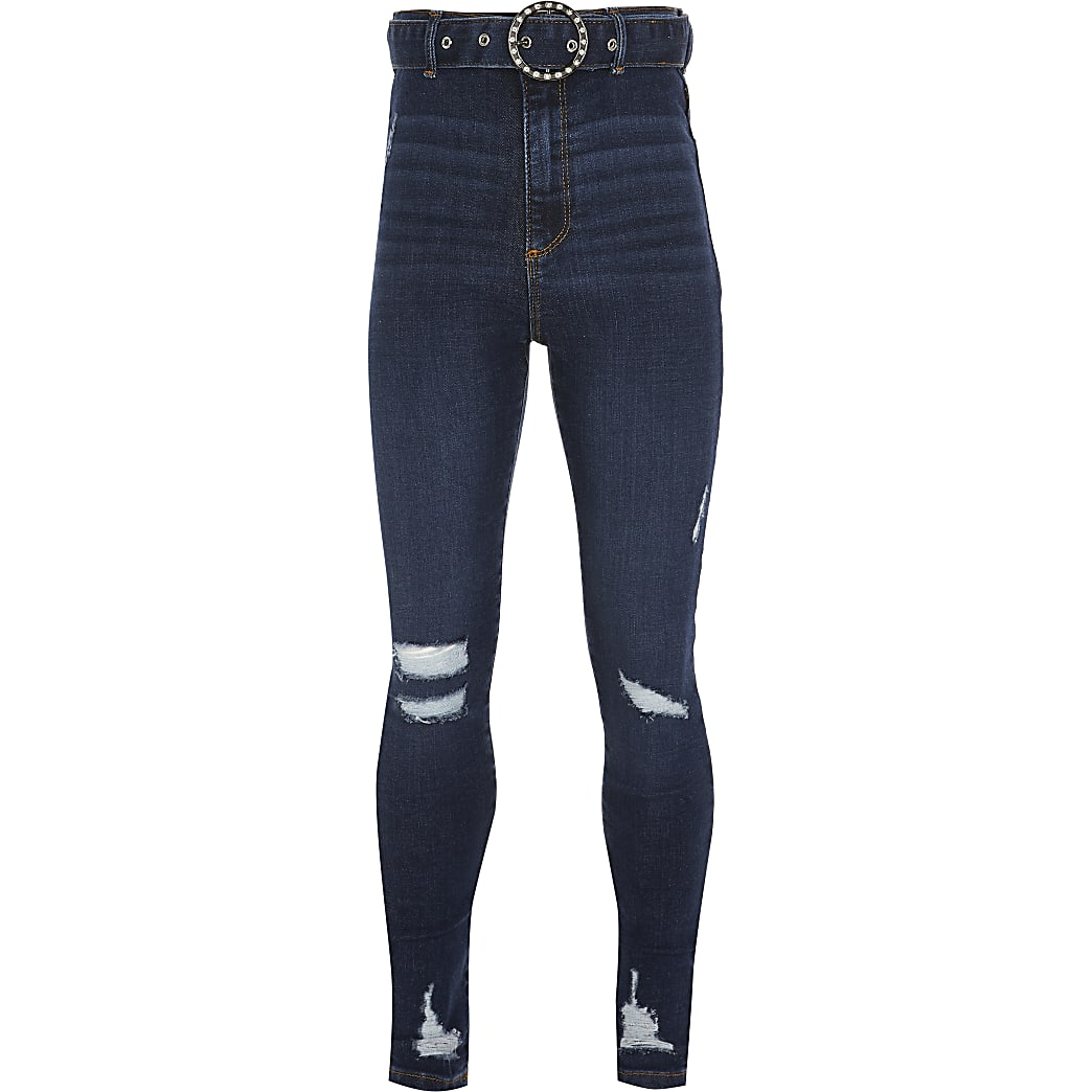 Girls blue Kaia belted skinny fit jeans