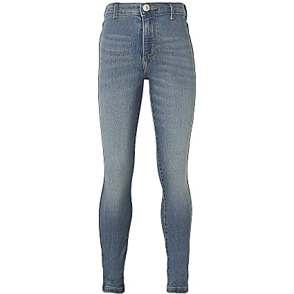 Girls blue Kaia high rise jeggings