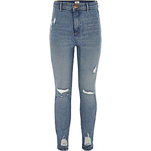 Blauwe Kaia rip skinny-fit jeggings met hoge taille voor meisjes