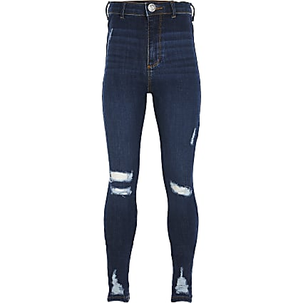 Girls blue Kaia skinny fit high rise jeggings
