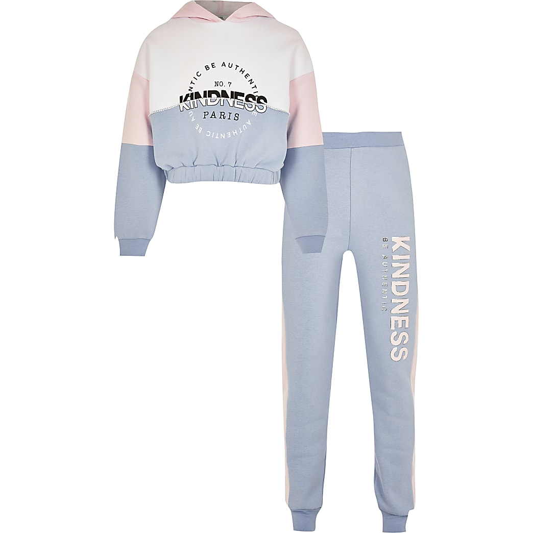 Girls blue 'kindness' hoodie outfit
