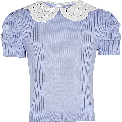 Girls blue knitted top