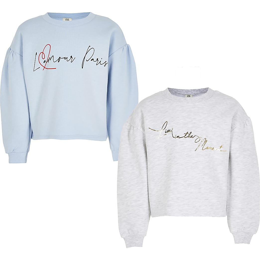 Girls blue 'Lamour'  sweatshirt 2 pack