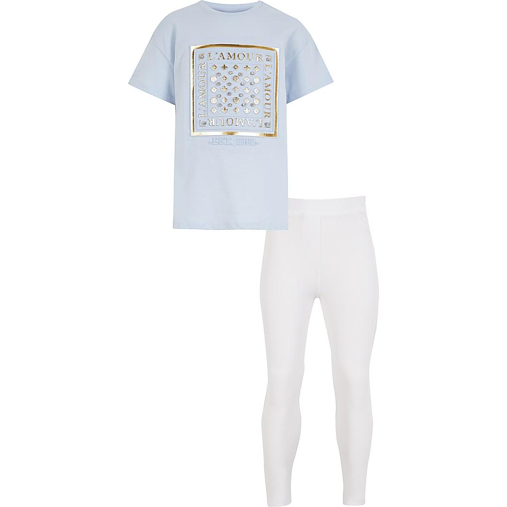 Blauw T-shirt outfit met 'L'amour'-tekst in reliëf voor meisjes