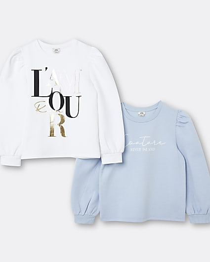 Girls blue 'L'amour' sweatshirts 2 pack