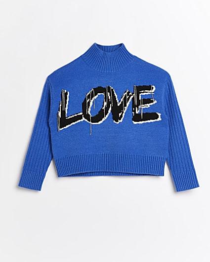 Girls blue 'Love' embellished jumper
