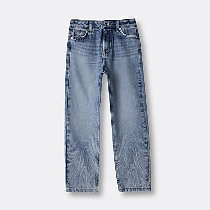 Girls blue marble print jeans
