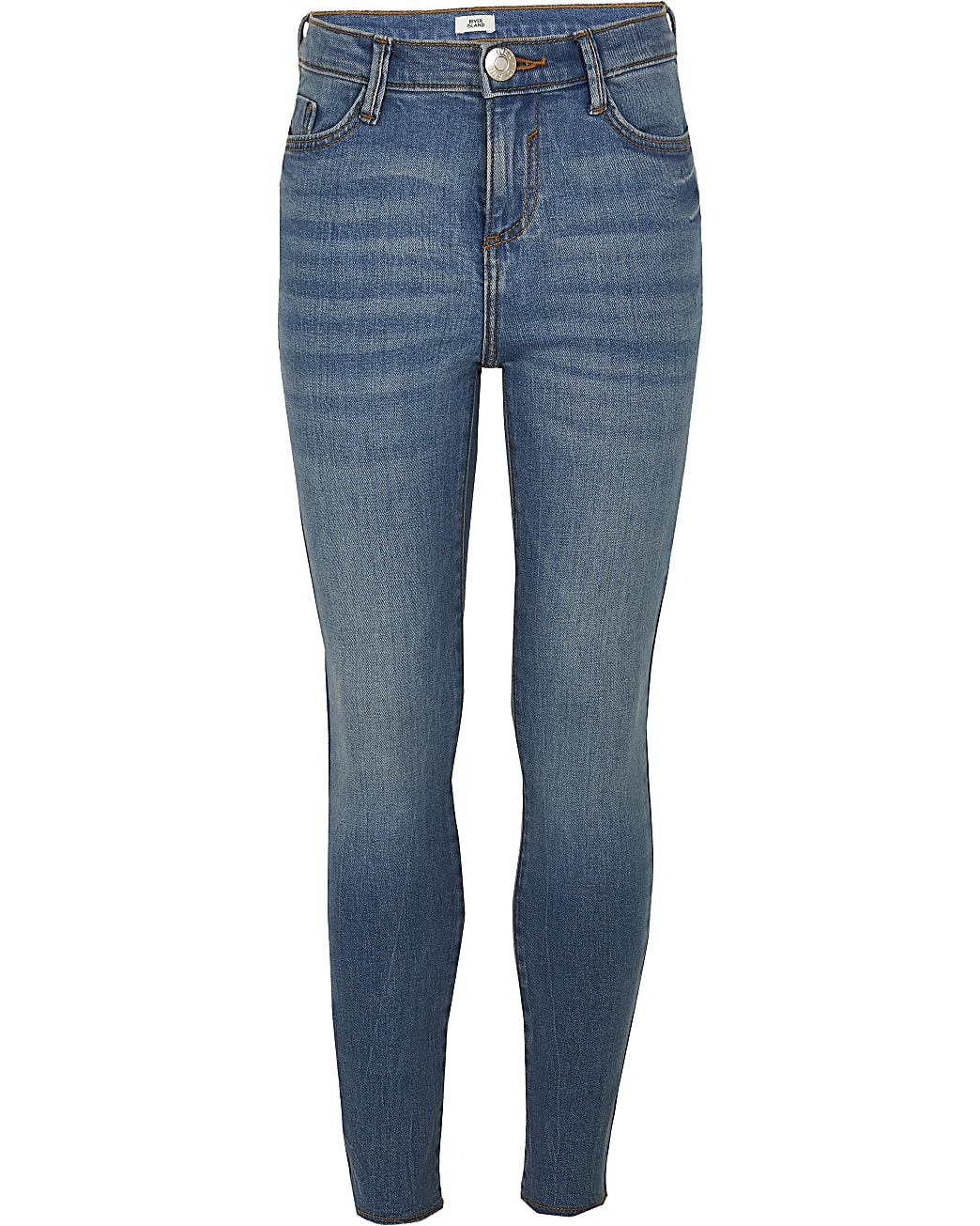 Girls blue mid rise skinny jeans