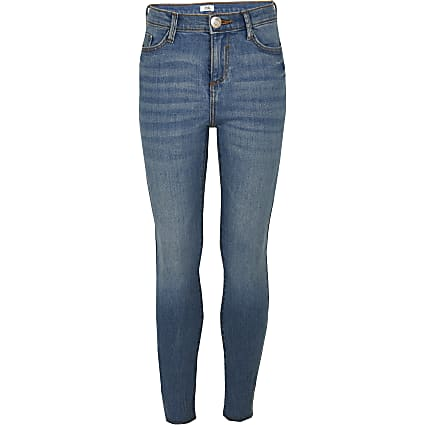 Girls blue mid rise skinny jeans